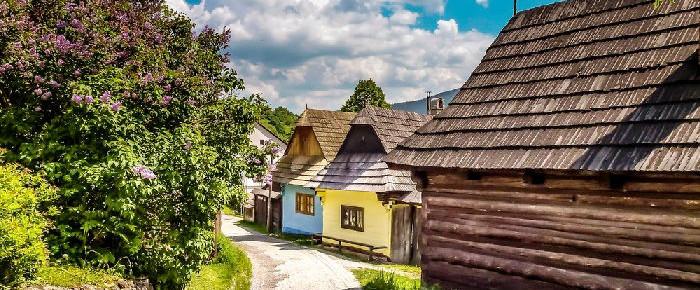 Бревенчатые дома деревни Влколинец